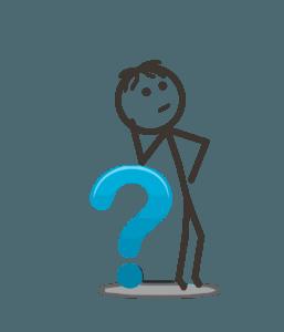 Bild: Fragendes Strichmännchen stützt sich auf ein grosses Fragezeichen.