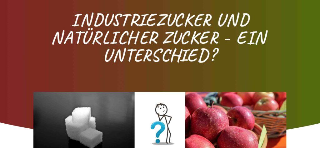 Bild: INDUSTRIEZUCKER im Form von Würfelzucker und NATÜRLICHER ZUCKER in From von Äpfeln