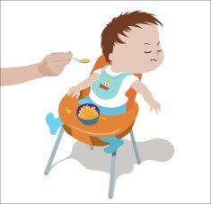 Bild: Babybrei - Kleinkind wird gefüttert