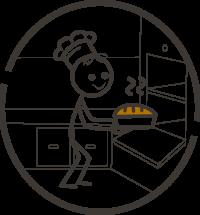 Bild: Fröhliches Strichmännchen holt ein knusprig vollwertiges Brot aus dem Ofen.