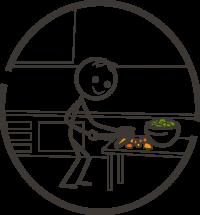 Bild: Rohkostkurs - Fröhliches Strichmännchen bereitet Rohkost zu.