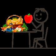 Bild: Ganzheitliche Ernährungsberatung - Fröhliches Strichmännchen isst an einem Tisch Obst und Gemüse.