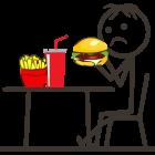 Bild: Ganzheitliche Ernährungsberatung - Unzufriedenes Strichmännchen isst einen Burger, auf dem Tisch vor ihm stehen Cola und Pommes Frites.